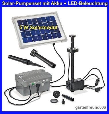 5 w solar pumpenset mit akku led beleuchtung solarpumpe. Black Bedroom Furniture Sets. Home Design Ideas
