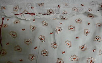 Scotty Scottie Dog And Doghouse Red Print Ruffle Curtain Set of Two