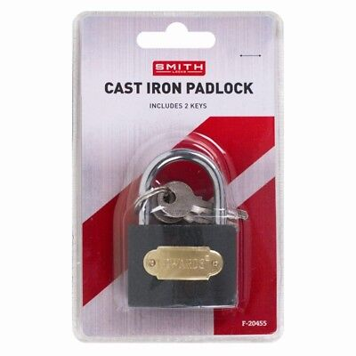 Cast Iron Padlock 50Mm Heavy Duty With 2 Keys Safety And Security For Outdoor