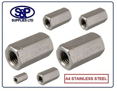 A4 Stainless Steel Deep Nut Threaded Bar Studding Hexagon Connector M5 To M24