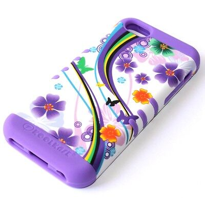 For iPhone 5C - HARD&SOFT RUBBER HYBRID IMPACT SKIN CASE PURPLE FLOWER BUTTERFLY