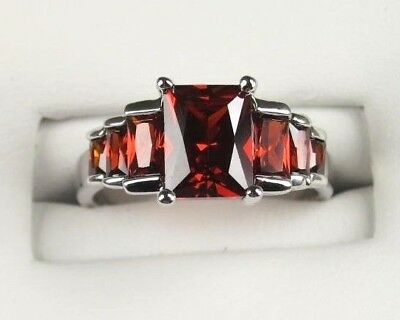 R#3377 simulated Red Garnet gemstone ladies silver ring size 10