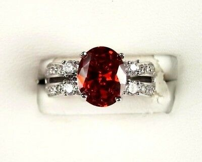 R#3940 Simulated Red Garnet / White Topaz gemstone ladies silver ring size 6