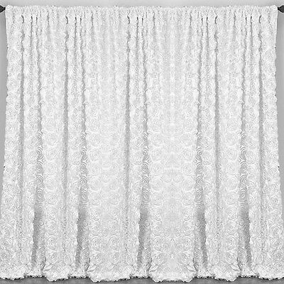 """2 Rosette Drape Panels 54""""x108"""" 20 Colors Window 3D Curtains Wedding Made in USA"""