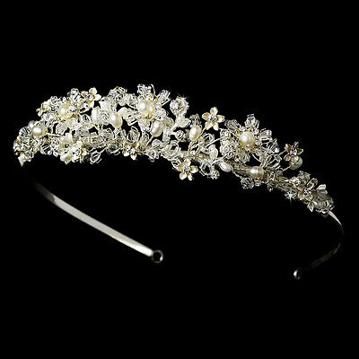 Silver White Freshwater Pearl Austrian Crystal Bridal Royal Tiara Princess Crown