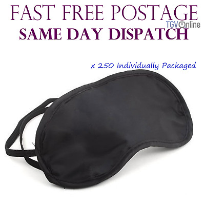 250 X Travel Eye Masks, Sleep Sleeping Cover Rest Eyepatch Blindfold (Black) New