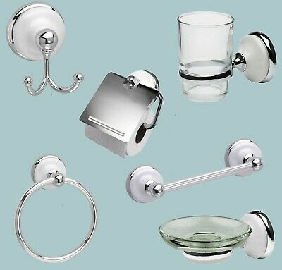 Polished Chrome Bathroom Accessories With White or Black Ceramic Inserts