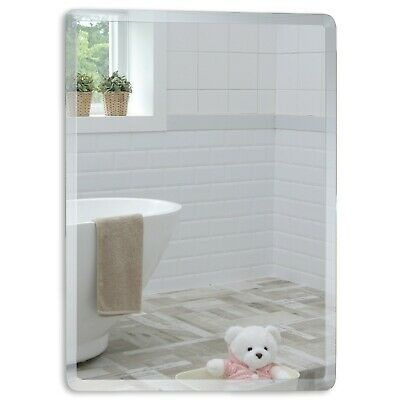 BATHROOM MIRROR Rectangular GREAT QUALITY With Bevel 60cmx45cm Plain Wall Mount