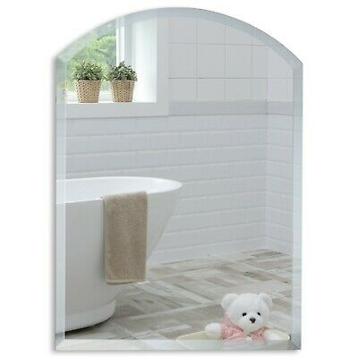 Simple BATHROOM MIRROR Beautiful ARCH WITH BEVEL Plain Wall Mounted 2 Sizes