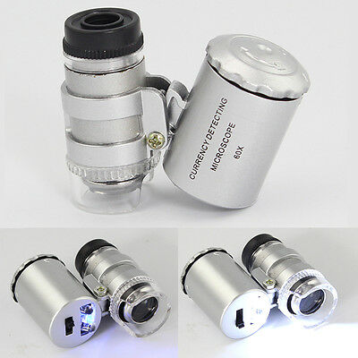 Mini 60x Jewelers Loupe Magnifier Magnifying Lens Glass Zoom Tool LED Light