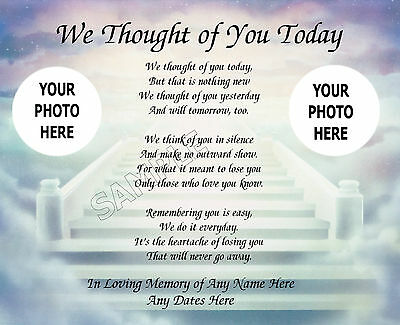 We Thought Of You Today Prayer Photo Personalized Art Poem Memory Gift