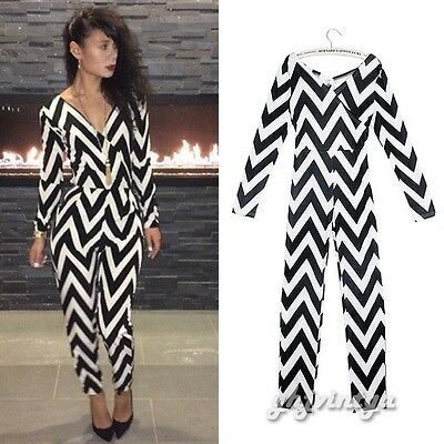 Sexy Women Lady Deep V-Neck Cut Out Zebra Stripe Jumpsuit Playsuit Pants Overall