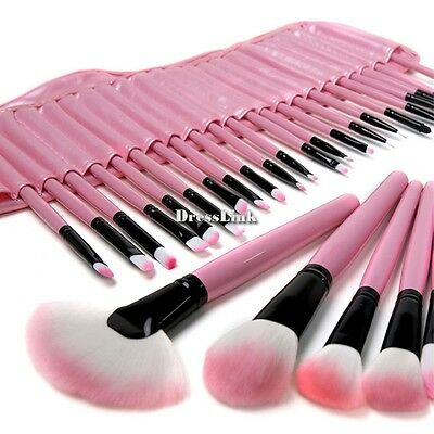 32 Pcs Trucco Cosmetici Pennelli Make Up Brush Set con Rosa Borsa Nuovo