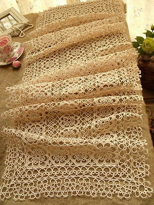 "Vtg Tatted Lace Table Runner Dress Scarf  Ecru ~Wedding Rustic Chic - 50"" LONG"
