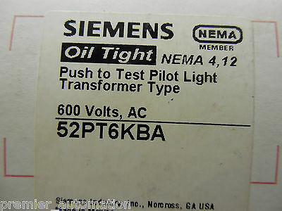 Siemens, 52Pt6Kba, Push To Test Pilot Light Transformer Type, 600 Volts, Ac