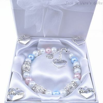 Mum to Be, New Mummy Bracelet, Choose Charm & Colour - Gift Boxed - Baby Shower