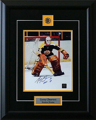 Gerry Cheevers Boston Bruins Signed Framed 8 x 10 Photo