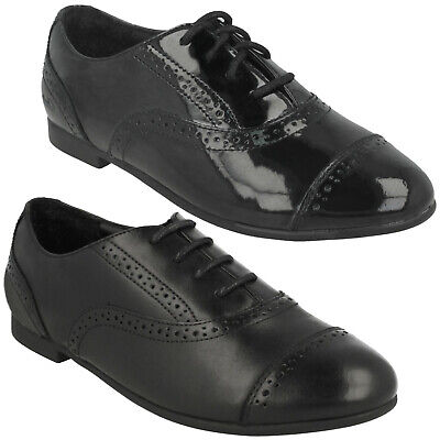 Girls Senior Clarks Selsey Cool Lace Up Leather Brogue School College Shoes Size