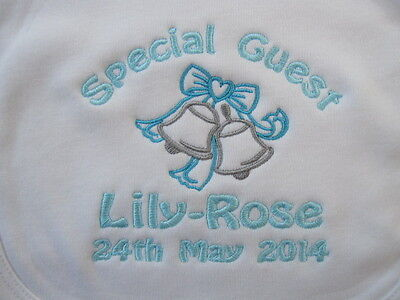 Personalised Baby Bib - Embroidered for Baby - Wedding - Wedding Bells - Gift !