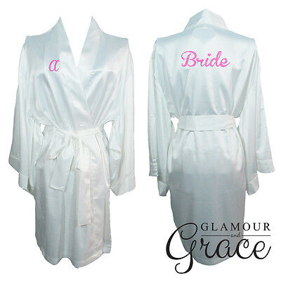White Bridal Bride Bridesmaid Wedding Robe Dressing Gown Satin Silk Personalised