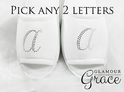 Initial Slippers Bride Bridal Wedding Personalised Customised Silver Letter Hens