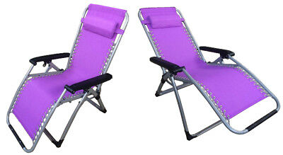 2 x ZERO GRAVITY PURPLE TEXTILENE DELUXE FOLDING RECLINER CHAIRS reclining sun