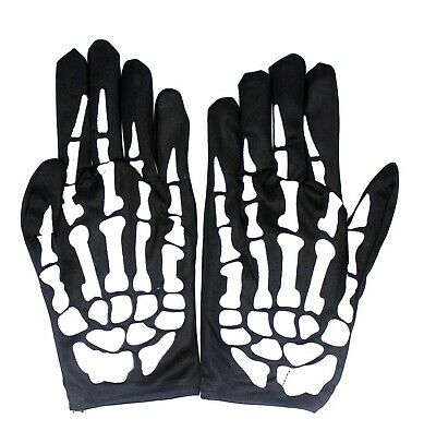 SKELETON GLOVES Costume Party Accessory Halloween Horror Fancy Dress Bone Print