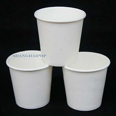 100 X Mini Disposable Paper Sample Cup Ice Cream Hot Coffee Party  White 2.5oz