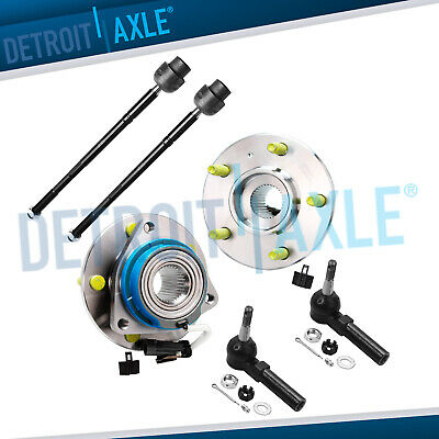 2 Front Wheel Hub And Bearing Assembly w/ ABS  + 2 Outer and 2 Inner Tie Rod