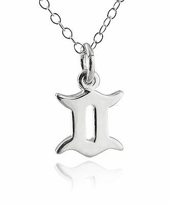 Gemini Charm Necklace - 925 Sterling Silver NEW Horoscope Stars Astrology