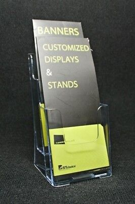 2 Pocket Trifold Pamphlet Magazine Catalogs Brochure Holder for Office Display