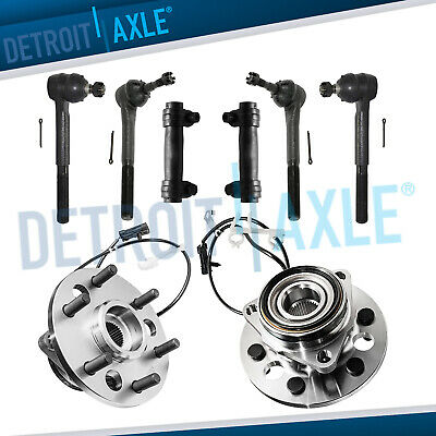 2 Front Wheel Hub Bearing Assembly ABS 4WD + 4 Tie Rod End + 2 Adjusting Sleeve
