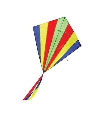Childrens Rainbow Kite Easy to Fly Single Line Fun Kids Toy Colourful