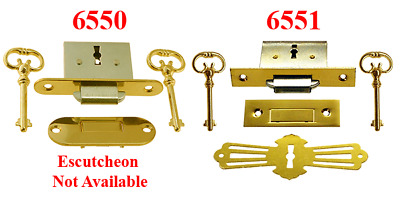 Roll Top Desk Lock Sets, 2 styles, Extra Keys and Escutcheons Sold Separately