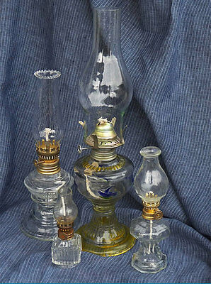 Vintage Small Glass Oil Lamps - Group of 4