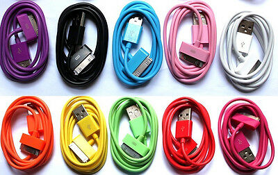 1M/2M/3M Color USB Data Round Sync Charging Cable Cord For iPhone 4 4S IPad