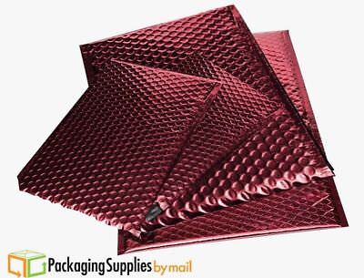 "Metallic Glamour Bubble Mailers Shipping Envelope Bags 13.75"" x 11"" Red 50 / Cs"