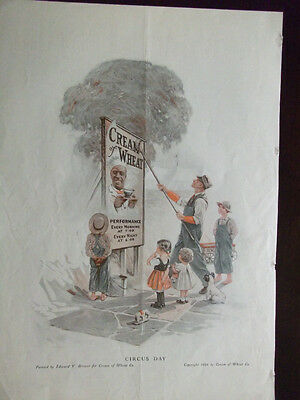 Original 1916 Cream Of Wheat Ad Circus Day by Edward V. Brewer