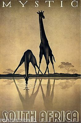 Mystic South Africa Giraffe Giraffes Vintage Travel Advertisement Art Poster
