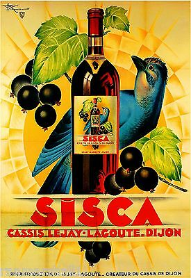 Sisca Creme de Cassis Bluejay Bird Wine Vintage Advertisement Art Poster Print