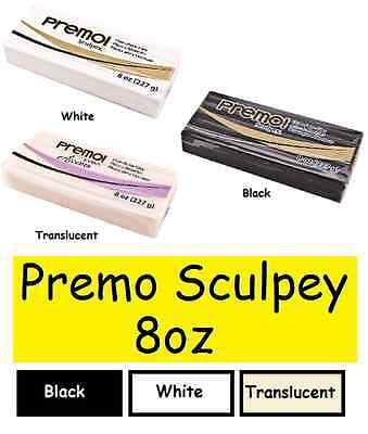 PREMO SCULPEY 8 oz Polymer Clay CHOOSE COLOR Black White Translucent