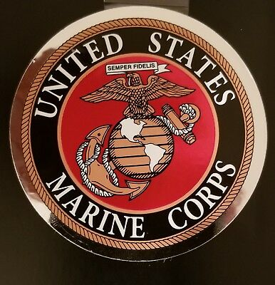 Usmc Us Marine Corps High Quality Outside Application 3 Inch Sticker - Decal!!
