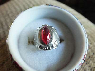 Collectible Rhinestone Cocktail Ring  Red Adjustable
