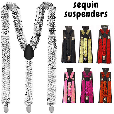 SEQUIN SUSPENDERS Unisex Adjustable Braces Clip On Elastic Y-Back Mens Womens