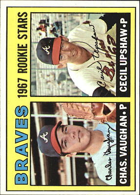 1967 Topps #179 Rookie Stars/Charles Vaughan RC/Cecil Upshaw RC - EX-MT