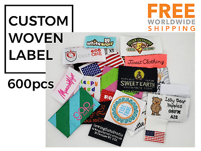 600pcs Custom Damask Woven Sewing Label for Fashion/Tee/Clothing/Bags/Wrap/Tie