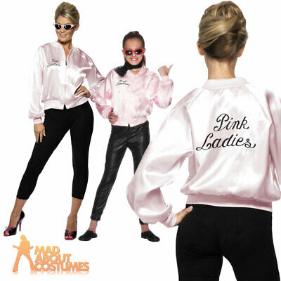 Womens Girls Pink Ladies Jacket 1950s Grease Fancy Dress Adult 50s Outfit