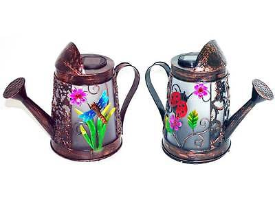 Solar Powered Colour Changing Led Light Water Watering Can Garden Decorating