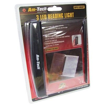 3 LED Super Bright Reading Light Adjustable Brightness Battery Operated Supplied