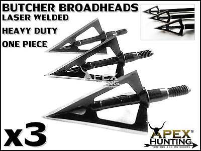 3X One Piece Laser Welded 3 Bladed Butcher Broadheads For Compound Bow Archery